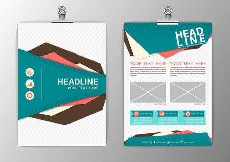 A4 Abstract Background polygon design, Business Corporate Brochure Template Flyer Layout, paper clip-Vector illustration