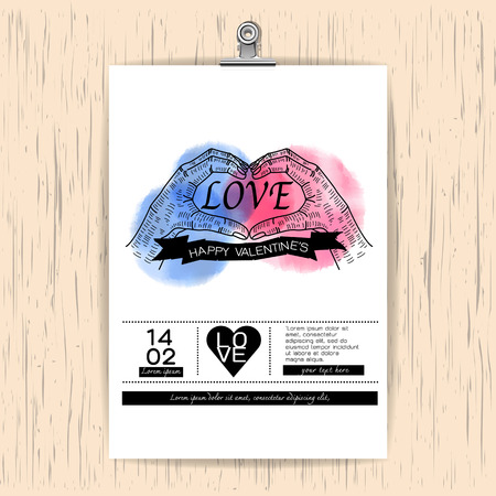 Valentines day card on wood Background, vintage hand making heart sign watercolor painted,Vector illustration Vector