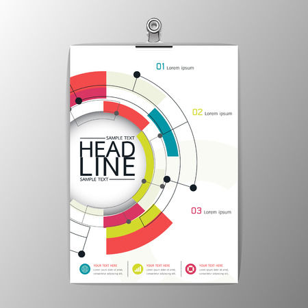 magazines: A4 Abstract Background modern Circle design, Business Corporate Brochure Template Flyer Layout, paper clip-Vector illustration Illustration