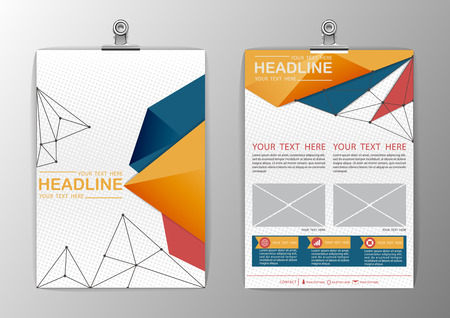 cover design: A4 abstract background triangle design, business corporate brochure template flyer layout, paper clip-vector illustration