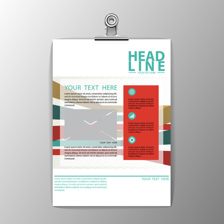 A4 brochure template design, business corporate background flyer layout, paper clip vector illustration