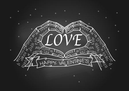 sign making: Valentines Day, hand making heart sign on blackboard with chalk-vector illustration