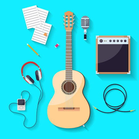 mp3 player: Flat design style,music tools, guitar, microphone, speaker, headphones, Mp3 player, vector illustration Illustration