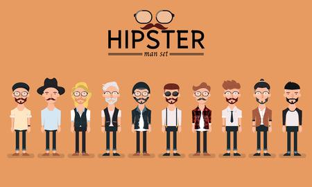 cabello: Estilo hipster hombre con barba, juego de caracteres ilustraci�n de recogida de vectores Vectores