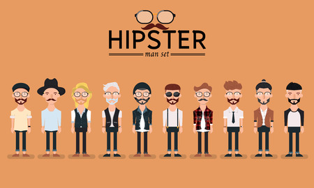 Hipster stijl bebaarde man, tekenset collectie-vector illustratie