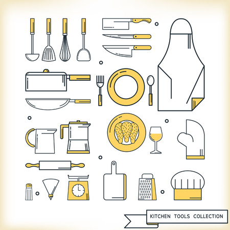 cooking utensil: Kitchen tools collection, Flat line design style, Vector illustration