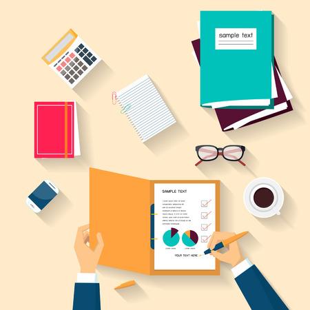 Business holding pen checklist document, Flat design, Vector illustration Vector