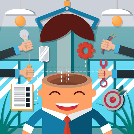 open sign: Concept of creative thought, Business man thinking-vector illustration Illustration