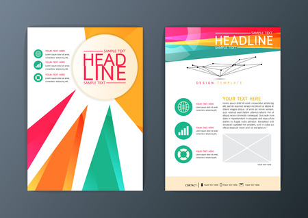 Flyer set, magazine, brochure design business template, abstract background, A4 size-Vector illustration