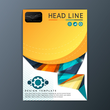 Modern abstract brochure, book, magazine, flyer design template with paper A4 size-Vector illustration Illustration