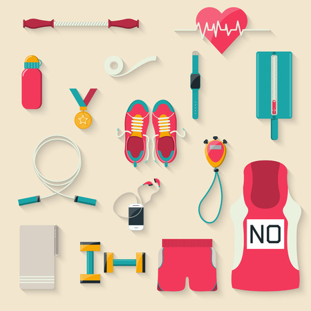 senior exercise: Flat design style Marathon equipmentvector illustration