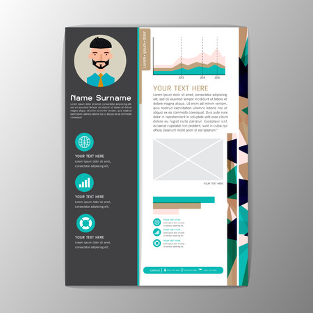Modern brochure business flyer design resume template magazine abstract background A4 size Vector illustration