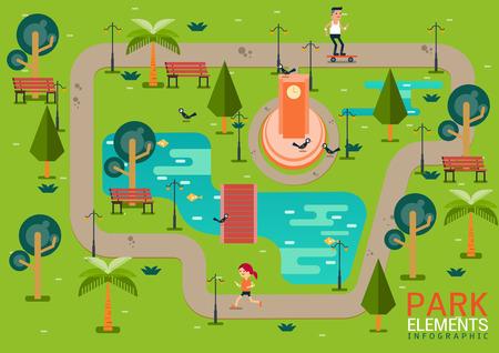 Park elements infographicvector illustration