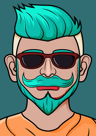 Retro fashion hipster with beard, mustage and sunglasses, vector illustration Illustration