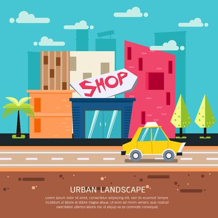 Colorful urban landscape, city and building illustration Illustration