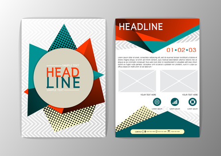 Abstract Orange and green Triangle design Brochure Flyer template layout-vector illustration