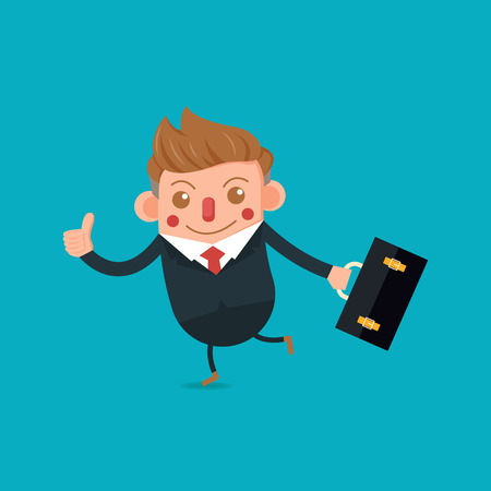 Businessman Cartoon character design, thumb up, holding briefcase vector illustration