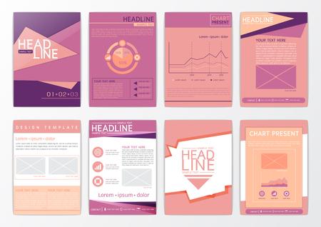 Abstract background design, business brochure big set, flyer layout, presentation, advertising, marketing, magazine, vector illustration