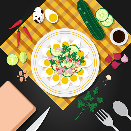 boiled: Boiled eggs of a partridge spicy salad, thai food-Vector illustration