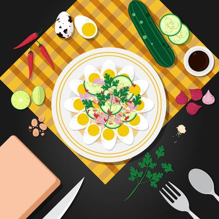 kuropatwa: Gotowane jaja kuropatwę pikantną sałatką, tajski żywności ilustracji wektorowych