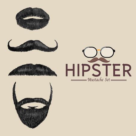 Hipster mustache set, Retro hand drawn-Vector illustration