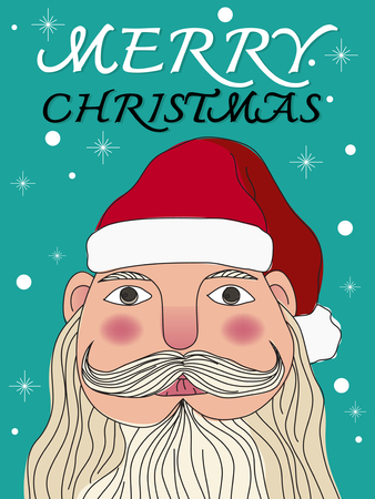 claus: Merry Christmas, Santa Claus, sign, christmas card,illustration Illustration