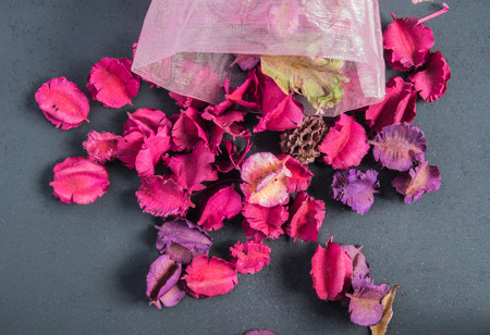 potpourri of dried aromatic flowers on black background Stock Photo