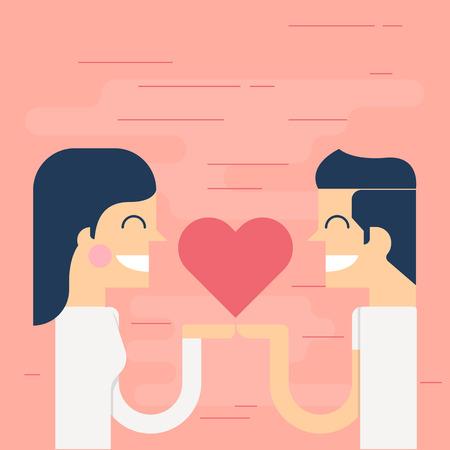 Romantic heart holding, Valentines-vector Illustration