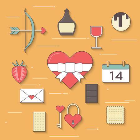 Valentines icon, Flat Design, vector Illustration