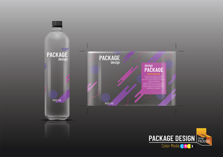 Package design, Label Template & Plastic bottle, mock up-Vector illustration