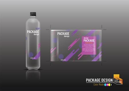 Projekt opakowania, szablon etykiety i plastikowa butelka, makieta-ilustracja wektorowa Ilustracje wektorowe
