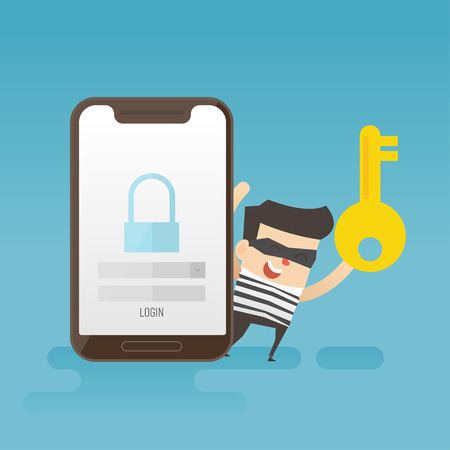 concept of smartphone security, Hacker. Business Concept Illustration.