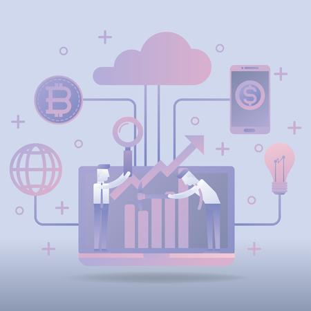 Modern financial concept, Business finance, Bitcoin mining, Flat Style Vector iIllustration Иллюстрация