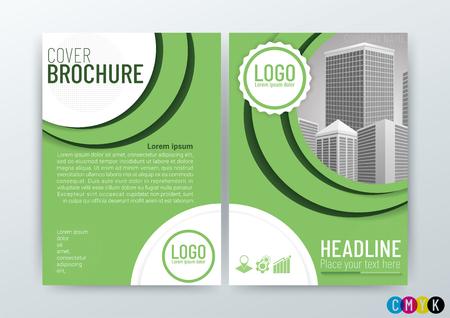 Business Brochure Design in Green Vector Illustration Иллюстрация