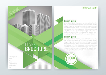 Business brochure design with buildings vector illustration.