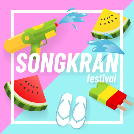 Festival summer concept with fruits, flip flop, ice cream on stick and water gun. Иллюстрация