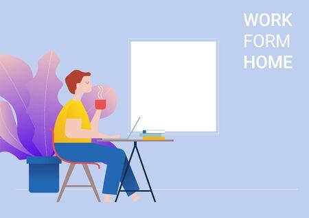 employees, freelance job at home-vector illustration