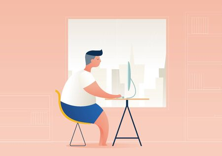 employees, freelance job in the form of a computer at home, vector illustration