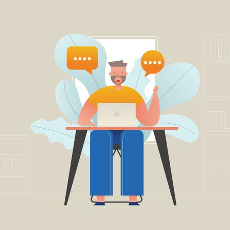 Employees, freelance job in the form of a computer at home-vector illustration