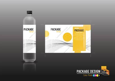 Packaging design label & bottles for drinks, mock up, Vector illustration