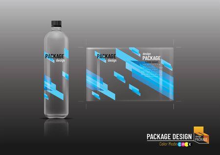 Packaging design label & bottles for drinks, mock up-Vector illustration