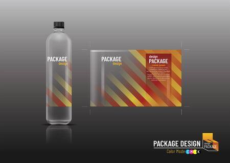 Packaging design, label & bottles for drinks, mock up, Vector illustration