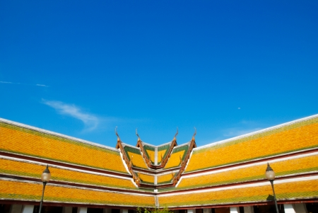 Traditional Thai Roof style temple in Wat Suthat, Bangkok, Thailand  photo