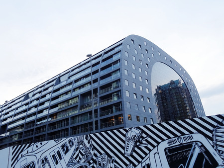 the netherlands: Markthal Rotterdam, a market hall in Rotterdam, Netherlands. Editorial