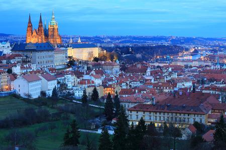 gothic castle: Winter night Prague City with gothic Castle, Czech Republic Stock Photo