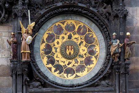 Detail of the historical medieval astronomical Clock in Prague on Old Town Hall, Czech Republic