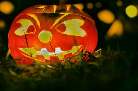 hollows: Photograph of a Halloween pumpkin. Stock Photo
