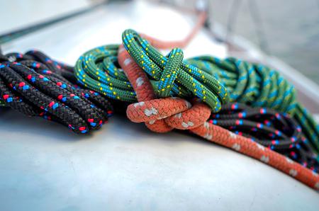 fixed line: Marine knots and ropes in the tallship Stock Photo