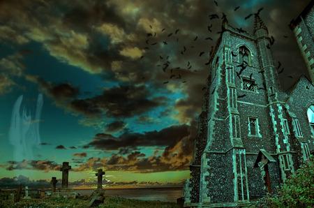 Dark scene where death shadow entering yard Stock Photo