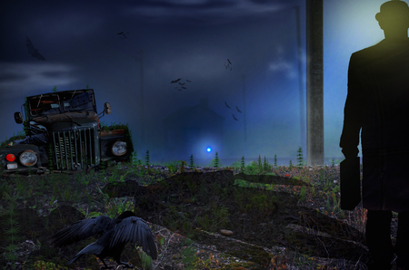 Man walking in a field towards a haunted house with scary dark atmosphere.. Photo manipulation. 写真素材